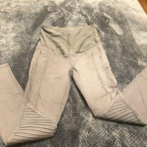 Grey Maternity Moto Jeans